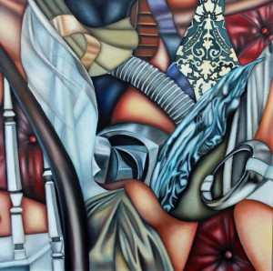 Cindy Mehr, House Cleaning, oil on canvas