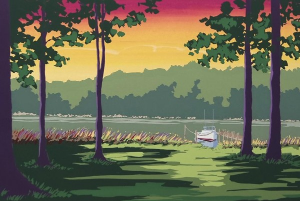 Jeanne Norton Hammett, Sunset on Jutland Creek, serigraph, Art on Paper 2017
