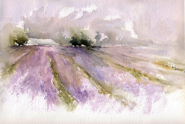 Alex Tolstoy, Lavender Fields , watercolor, Global Landscapes 2016