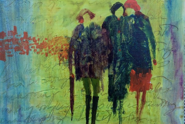 Maureen Farrell,   Menage a trois , mixed media