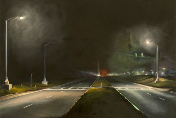 """Synchronized Lights"" by Jessica Dunne (oil on canvas) from Street Scenes 17"