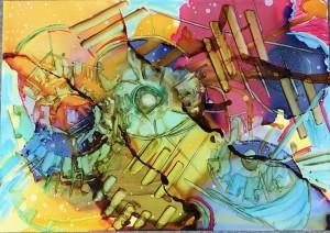 """Natalie McIntyre, Atmosphere,alcohol ink, image 5"""" x 3 ½""""."""