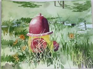 Hydrant, watercolor, Robert Caffrey