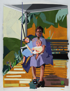 "Leslie Ann Blackmon, ""Family Swing"", collage/hand-painted papers"