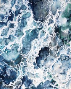 Open Water, watercolor and acrylic, Lindsay Elizabeth Neel