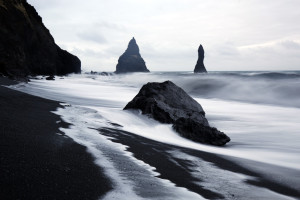 Black Sand Icelandic Beach, digital photography, Linda Agar-Hendrix