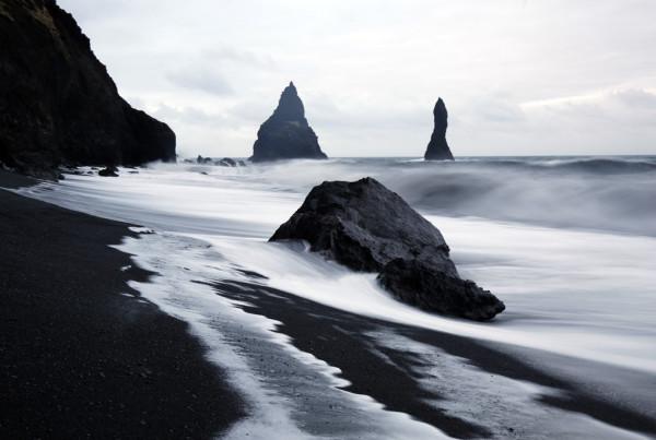 Black Sand Icelandic Beach, digital photography, Linda Agar-Hendrix
