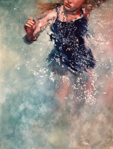 "Stacy Joy Lund Levy, ""The Swimmer"", watercolor on paper (Winter Show 2020)"